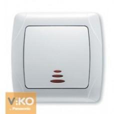 Выключатель со светом одинарный белый Viko