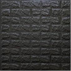 Самоклеющая 3д панель под кирпич черный 700*770*7мм