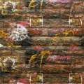 Самоклеющая 3д панель под кирпич оранжевый графити 700*770*5мм