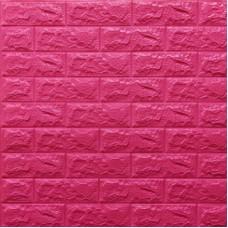 Самоклеющая 3д панель под кирпич темно-розовый 700*770*7мм