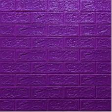 Самоклеющая 3д панель под кирпич фиолетовый 700*770*5мм