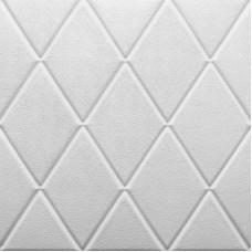Самоклеющаяся 3D панель на потолок ромб белый 700x700x7мм