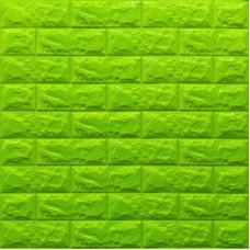 Самоклеющая 3д панель под кирпич зеленый 700*770*7мм