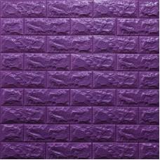 Самоклеющая 3д панель под кирпич фиолетовый 700*770*7мм