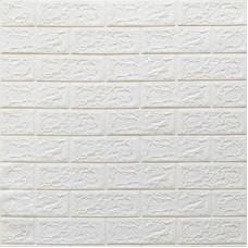 Самоклеющая 3д панель под кирпич белый 700*770*4мм