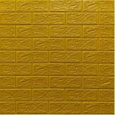 Самоклеющая 3д панель под кирпич золото 700*770*5мм