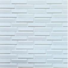 Самоклеющая 3д панель кладка белая 700*770*7мм