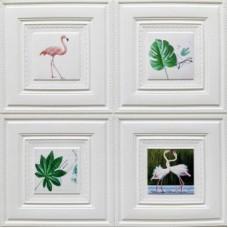 Самоклеющая 3д панель декоративная картина птицы 700*700*7мм