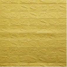 Самоклеющая 3д панель под кирпич желто-песочный 700*770*3мм