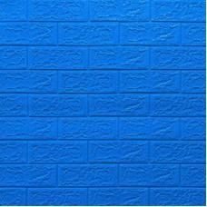 Самоклеющая 3д панель под кирпич синий 700*770*5мм