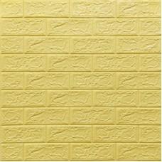 Самоклеющая 3д панель под кирпич желто-песочный 700*770*5мм