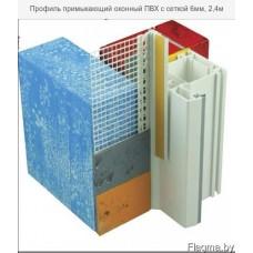 Профиль ПВХ оконный примыкающий 6мм с сеткой 10см (с манжетой) белый 2,4м