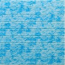 Самоклеющая 3д панель под кирпич голубой мрамор 700*770*5мм