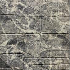 Самоклеющая 3д панель под камень черно-белый мрамор 700*700*8мм