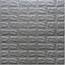 Самоклеющая 3д панель под кирпич серебро 700*770*7мм