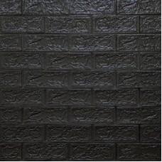 Самоклеющая 3д панель под кирпич черный 700*770*5мм