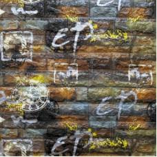 Самоклеющая 3д панель под кирпич серо-оранжевый графити 700*770*5мм